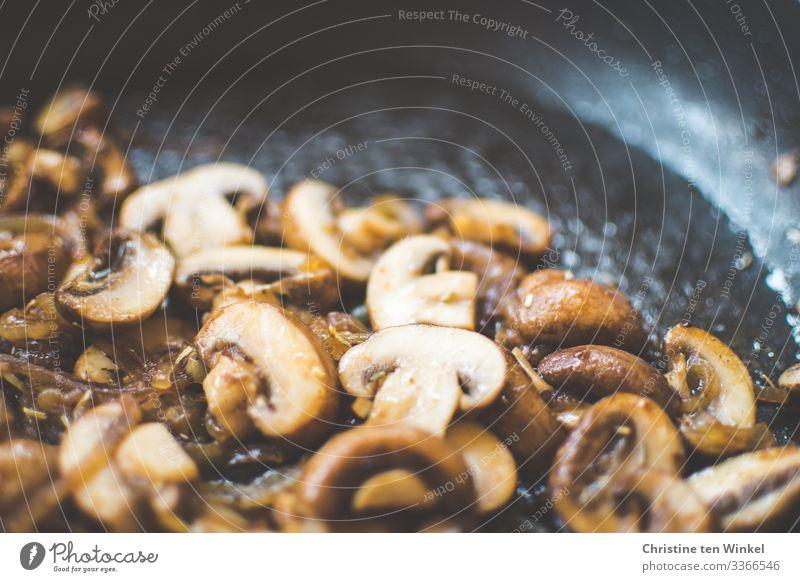 gebratene Champignons mit Zwiebeln Lebensmittel Ernährung Mittagessen Abendessen Bioprodukte Vegetarische Ernährung Slowfood Vegane Ernährung Pfanne authentisch