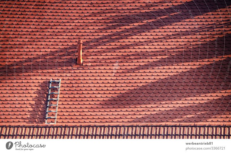 Einsame Leiter auf dem Dach Design Basteln Haus Handwerk Architektur beobachten rot Einsamkeit Baustein gebaute Struktur Hintergründe formatfüllend