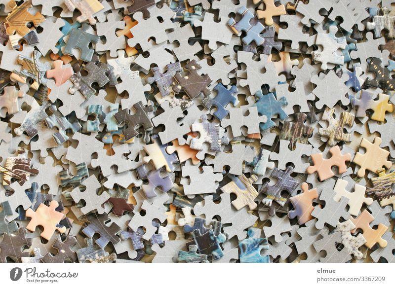 Puzzle Freizeit & Hobby Spielen Basteln Puzzleteil liegen klein mehrfarbig Laster Freude Lebensfreude Erfolg Willensstärke Leidenschaft diszipliniert Ausdauer