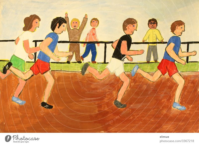 Wasserfarben Freizeit & Hobby zeichnen Malbild Sport Leichtathletik Sportler Publikum Sportveranstaltung Erfolg Kunst Gemälde Zusammensein sportlich mehrfarbig