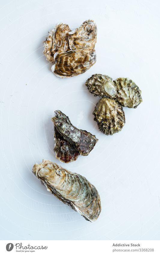 Rohe Muscheln auf schwarzem Tisch Meeresfrüchte roh Restaurant Bestandteil Panzer zugeklappt dreckig dunkel frisch ungekocht Vorbereitung Miesmuschel