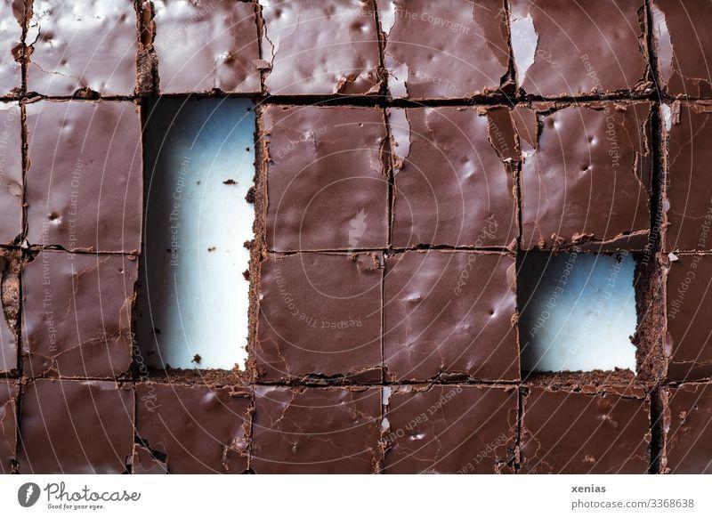 Eckig geschnittene Browniestücke Schokoladenkuchen Lebensmittel Kuchen Süßwaren brownie Ernährung Büffet Brunch Bioprodukte Vegetarische Ernährung Quadrat eckig
