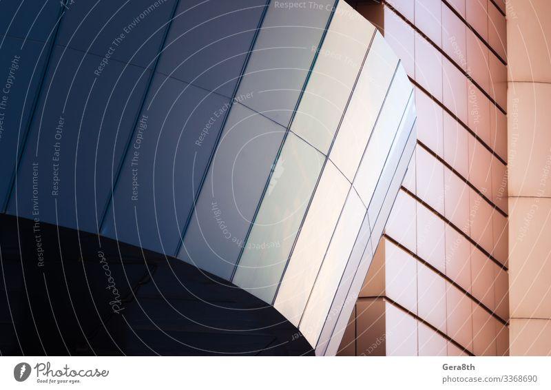Wand eines modernen blauen Gebäudes auf weißem Hintergrund Stil Design Haus Büro Business Architektur Fassade Linie einfach Farbe Klotz Großstadt Element leer