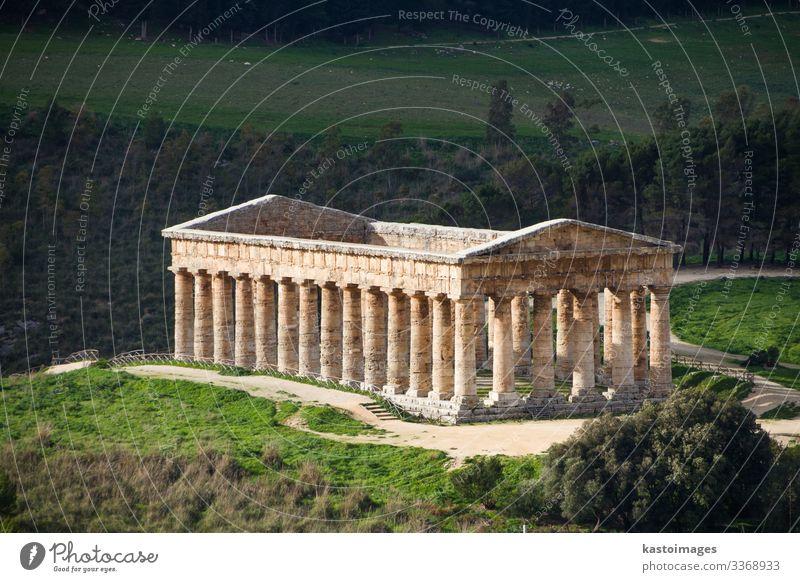 Segesta, antiker griechischer Tempel, Sizilien, Italien. Ferien & Urlaub & Reisen Tourismus Sightseeing Kultur Himmel Hügel Felsen Ruine Platz Gebäude