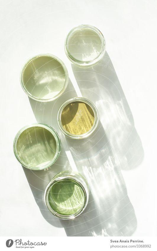 5 Grüntöne Design Farbe Farbeimer zeichnen Kreativität grün ästhetisch Farbfoto Gedeckte Farben Innenaufnahme Menschenleer Freisteller Licht Schatten
