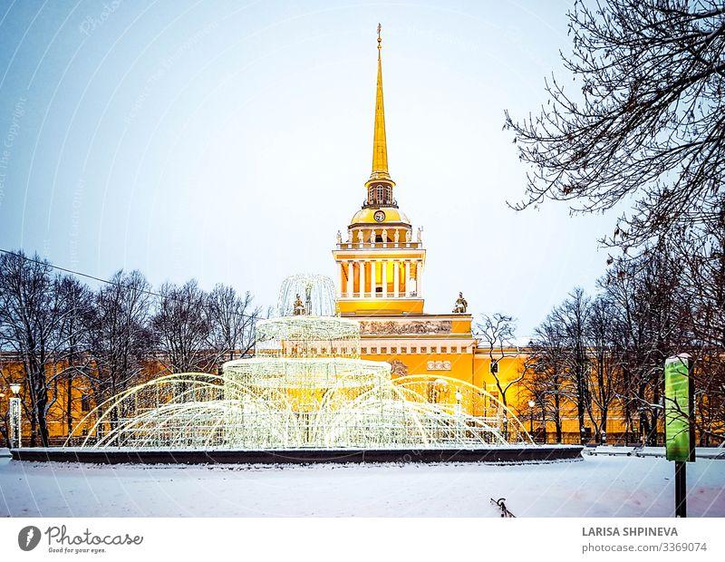 Admiralitätsgebäude Winter, Sankt Petersburg, Russland schön Ferien & Urlaub & Reisen Tourismus Schnee Kultur Landschaft Himmel Baum Palast Gebäude Architektur