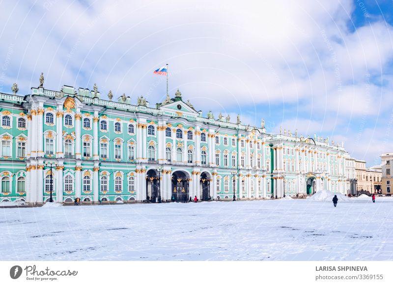 Winterpalast-Einsiedelei-Museum im Schneewinter in St. Petersburg Ferien & Urlaub & Reisen Tourismus Kultur Himmel Stadt Palast Gebäude Architektur Fassade