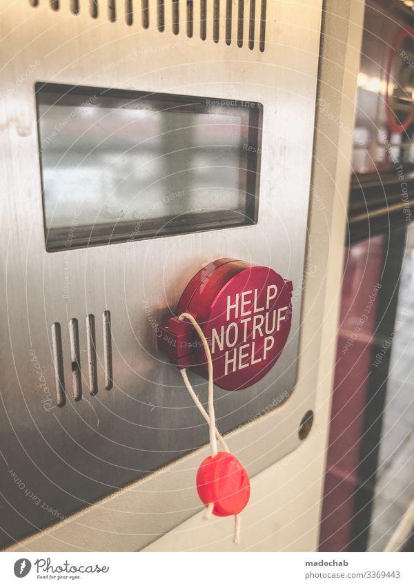 PUSH THE BUTTON - HELP NOTRUF HELP Technik & Technologie Verkehr Verkehrsmittel Schienenverkehr Bahnfahren Personenzug S-Bahn Zugabteil Zeichen Schriftzeichen