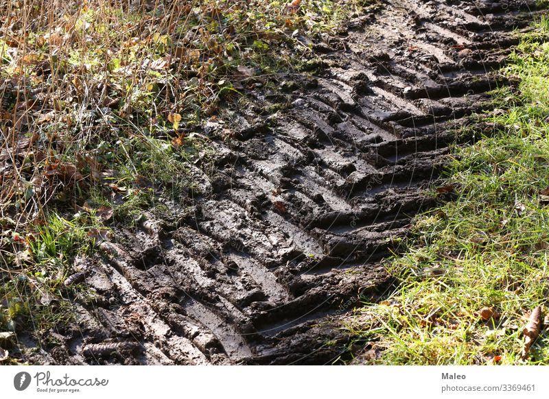 Profilspuren auf einer schmutzigen Straße PKW dreckig Feld Landschaft Muster Spuren Reifenprofil Fahrzeug Hintergrundbild Erde Gelände Strukturen & Formen