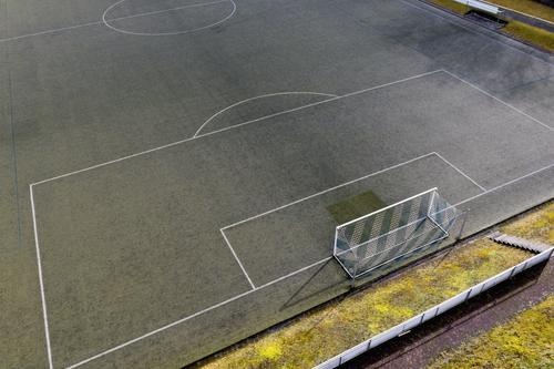 #Fußballfeld von Oben Sport Sportstätten Sportveranstaltung Fußballplatz Stadion ästhetisch Fußballtor Farbfoto Außenaufnahme Luftaufnahme