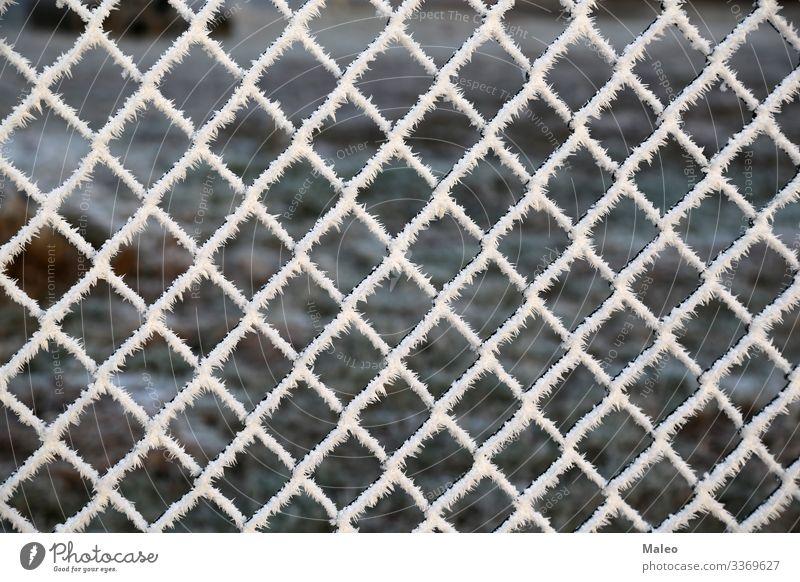 Metallnetz mit Raureif abstrakt Hintergrundbild Barriere Grenze Nahaufnahme kalt Konstruktion Eiskristall Schneekristall Detailaufnahme Zaun Frost Gitter Netz