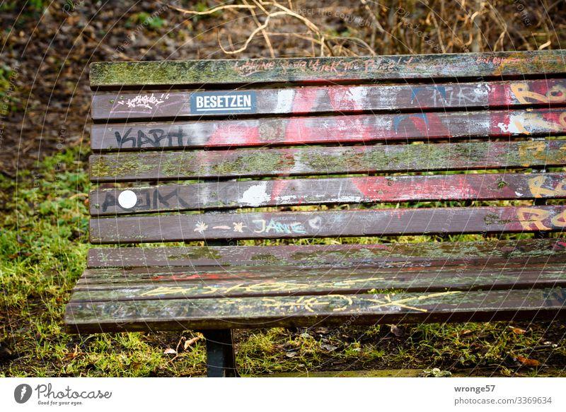 Aufforderung zum verweilen Park Bank Parkbank Holz Schilder & Markierungen Graffiti frei mehrfarbig grün ruhig Gartenbank Sitzgelegenheit leer Etikett besetzen
