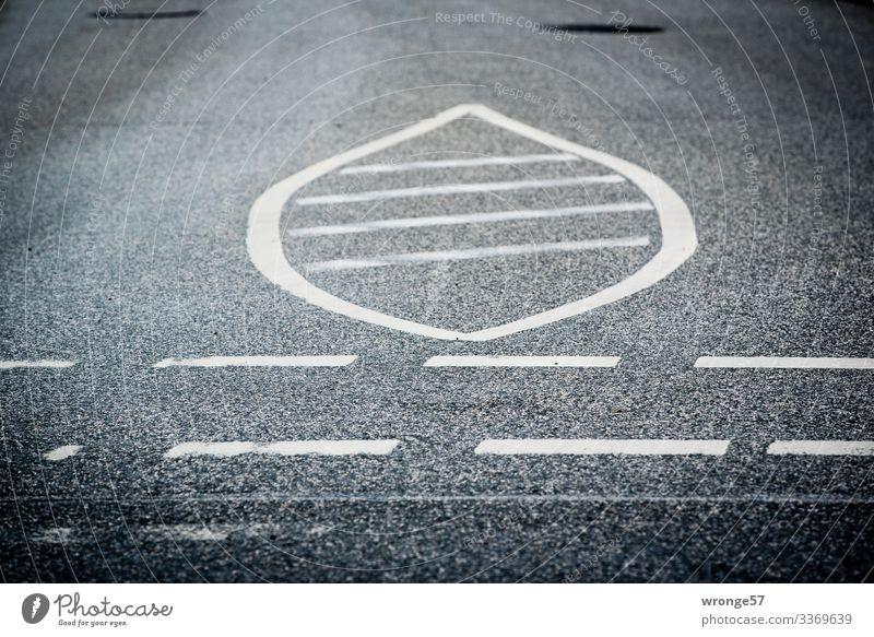 Asphaltierte Fahrbahn mit markierter Sperrfläche Straße Verkehr Verkehrswege Fahrbahnmarkierung Wege & Pfade Menschenleer Außenaufnahme Farbfoto Tag