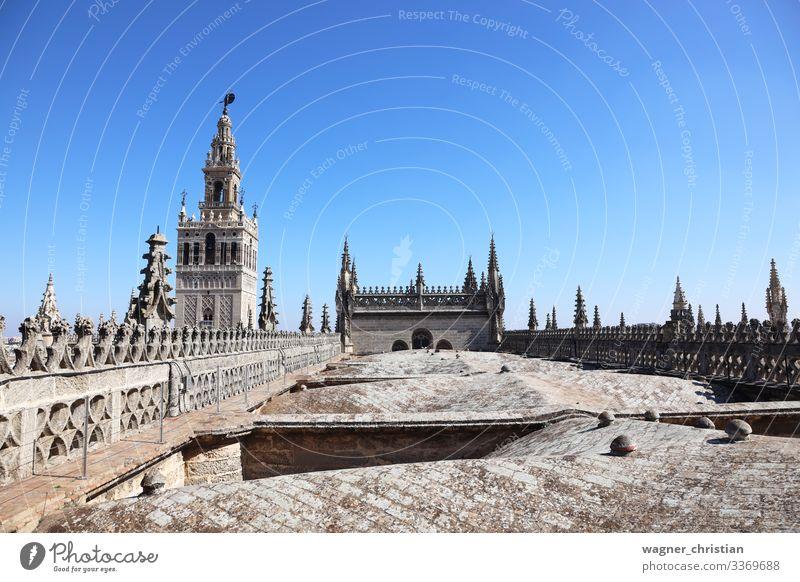 Giralda Tower + Seville Cathedral Roof Ferien & Urlaub & Reisen Tourismus Sightseeing Kirche Dom Dach Gateway Arch Sevilla Bell Tower Tourist Hintergrundbild