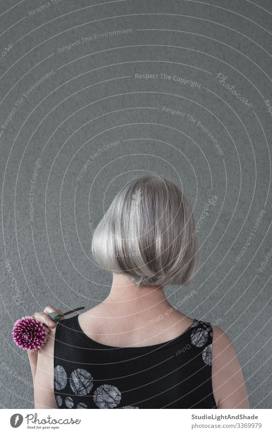 Dame mit silbernem Haar und roter Dahlie Lifestyle elegant Stil schön Haare & Frisuren Gesundheitswesen Gartenarbeit Mensch Frau Erwachsene Blume Mode dunkel
