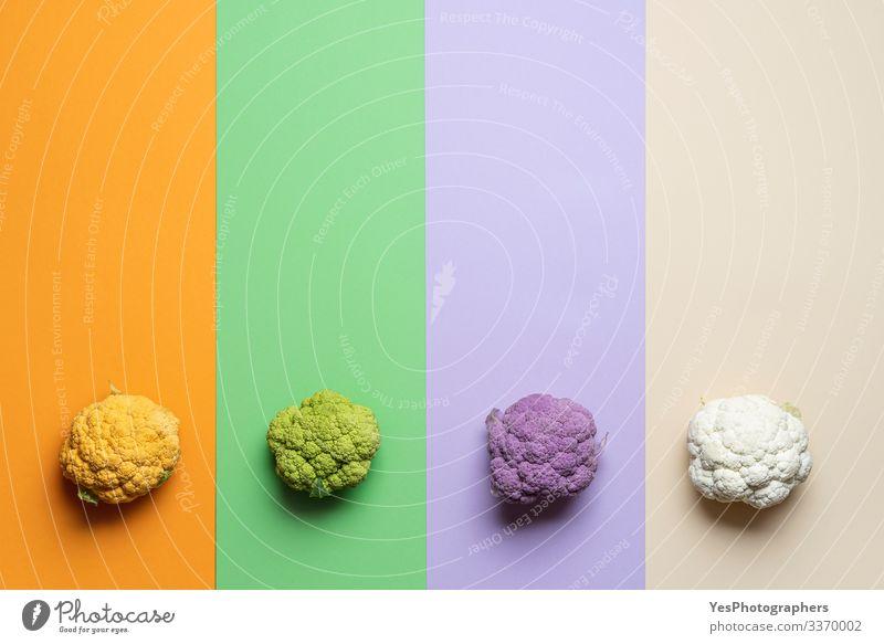 Blumenkohlsorte auf mehrfarbigem Hintergrund Gemüse Ernährung Bioprodukte Gesunde Ernährung Gartenarbeit natürlich obere Ansicht Ackerbau Sortiment