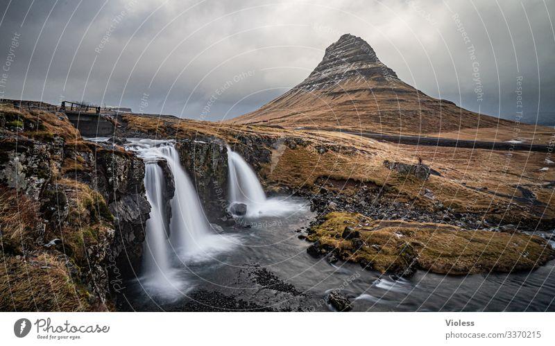 Kirkjufellsfoss Wolken entdecken Langzeitbelichtung Vulkan Sukkurtoppen Berge u. Gebirge Wasserfall Island kirkjufellsfoss Snæfellsnes
