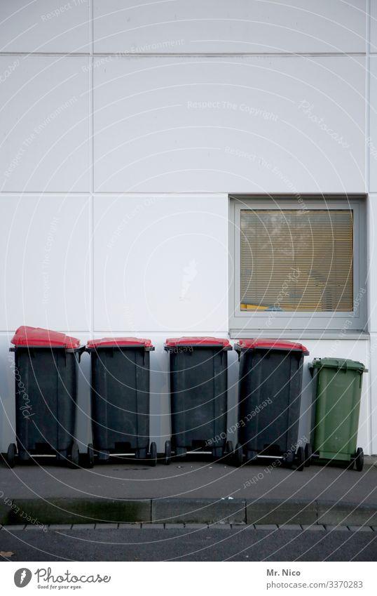 Mülltonnen Abfall abfallentsorgung Wand Fassade Recycling Müllbehälter ökologisch Umweltschutz rot grün grau Fenster Bürgersteig Straße Bordsteinkante