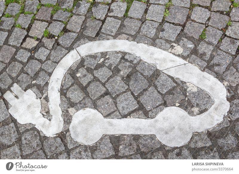 Elektrofahrzeug-Ladestation Schild Auto auf der Straße Lifestyle Technik & Technologie Verkehr Fahrzeug PKW modern weiß Energie Fürsorge Mobilität Zukunft