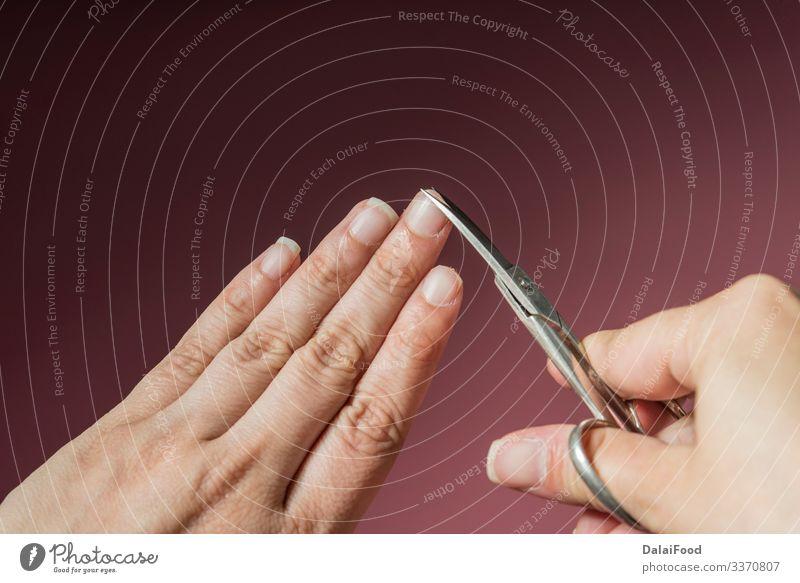 Nagelschneider Makrodetail rosa Hintergrund schön Haut Maniküre Kosmetik Behandlung Werkzeug Schere Mensch Frau Erwachsene Mann Hand Finger Mode Metall Stahl