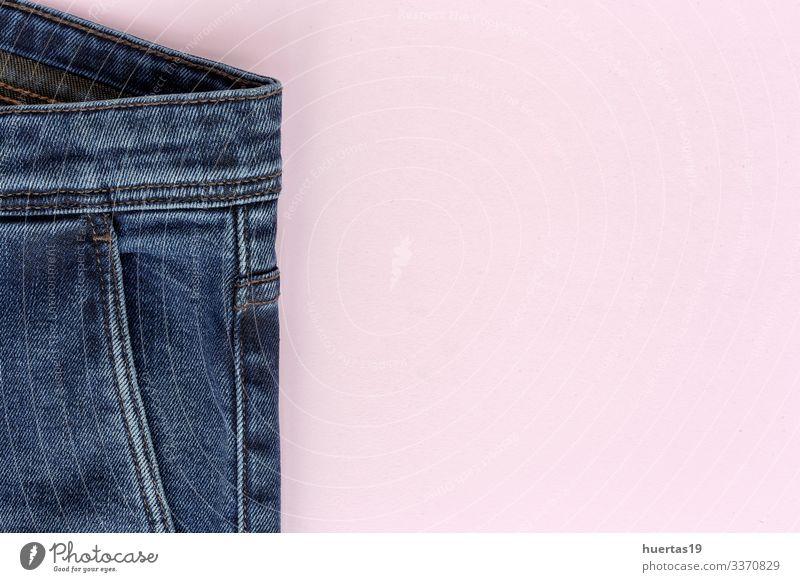 Details der blauen Jeans mit Reißverschluss, Taschen Lifestyle elegant Stil Design Industrie Mode Bekleidung Hose Jeanshose rosa Blue Jeans Knöpfe