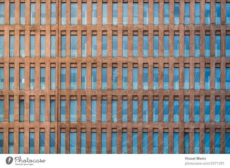 Einheitliche Fassade eines Gebäudes Design Büro Architektur Farbe Stadtfassade Fenster urban verglaste Fenster abstrakter Hintergrund Gebäudefassade
