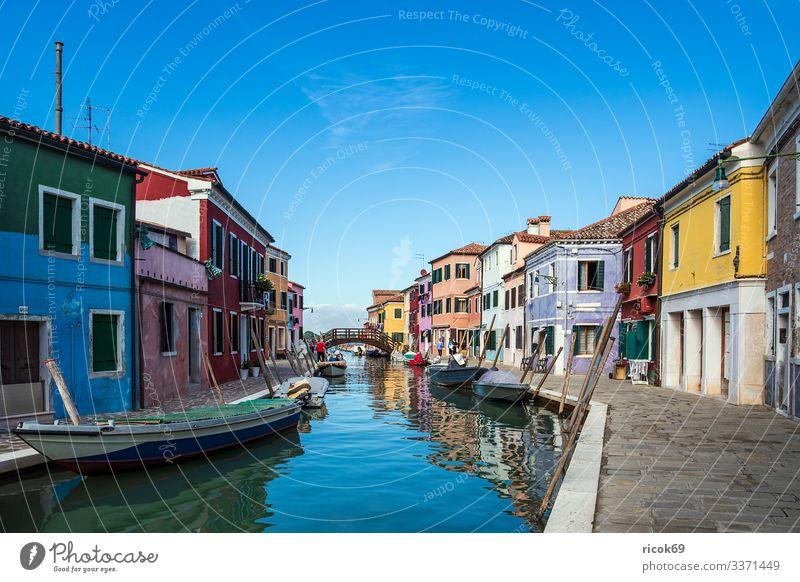 Bunte Gebäude auf der Insel Burano bei Venedig, Italien Ferien & Urlaub & Reisen alt blau Stadt grün Wasser Baum Haus Erholung Wolken Architektur Tourismus
