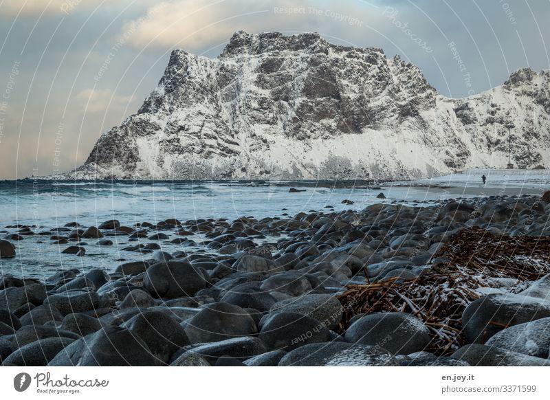 Uttakleiv Ferien & Urlaub & Reisen Tourismus Strand Meer 1 Mensch Natur Landschaft Winter Felsen Berge u. Gebirge Schneebedeckte Gipfel Wellen Küste Lofoten