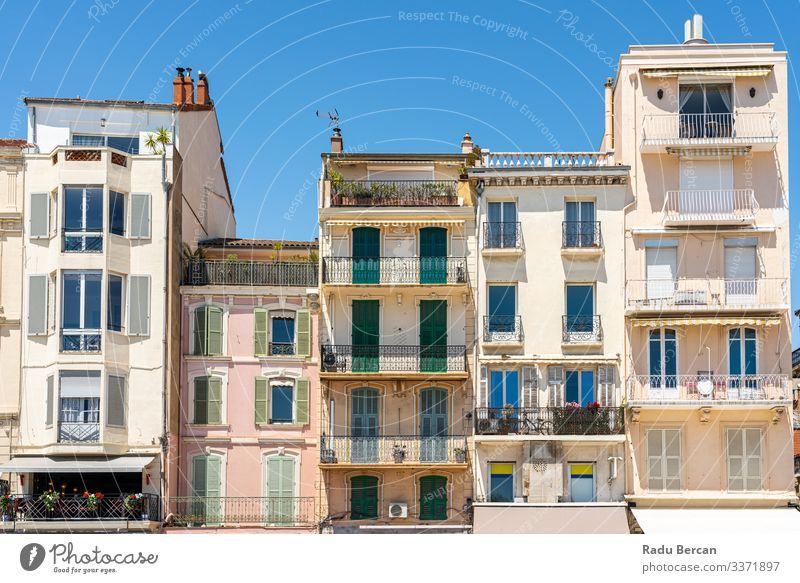 Historische Architektur historischer Häuser im Stadtzentrum von Cannes Franzosen Frankreich Gang heimwärts Außenaufnahme Tradition Kultur mehrfarbig Straße