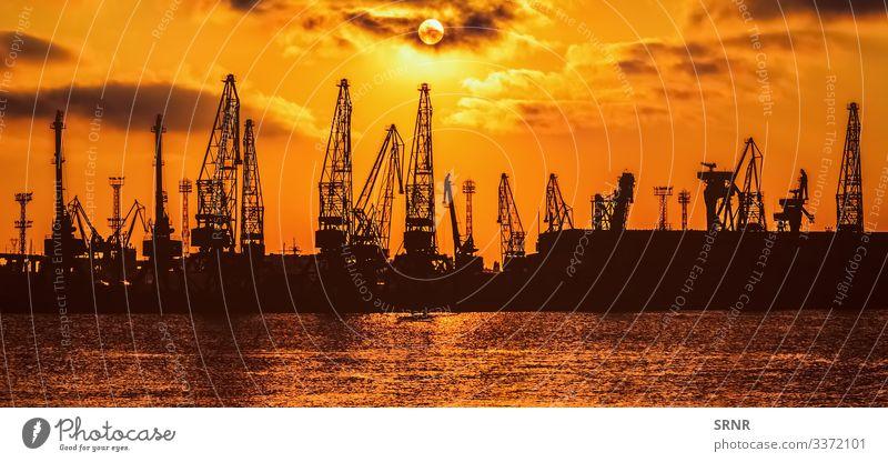 Krane Kranich Kranausleger Kräne dunkel Dunkelheit Abenddämmerung Einschiffung des Bohrturms hafen Hafen Hafenkran industriell Industrie Mond Mondschein Nacht