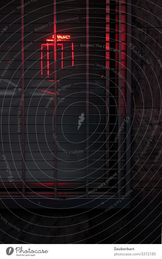 Rote Neonröhren spiegeln sich in vergittertem Fenster Fassade Fensterrahmen Gitter Neonlicht Neonlampe Metall dunkel Stadt rot Schutz Angst geheimnisvoll