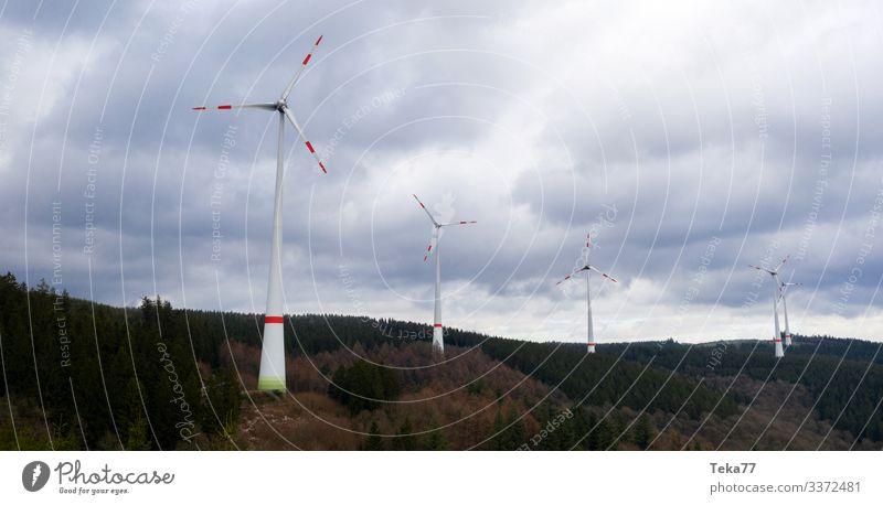 #Windräder auf Hügel Winter Energiewirtschaft Erneuerbare Energie Windkraftanlage Umwelt Natur Landschaft Pflanze Wald ästhetisch Windrad Farbfoto Außenaufnahme