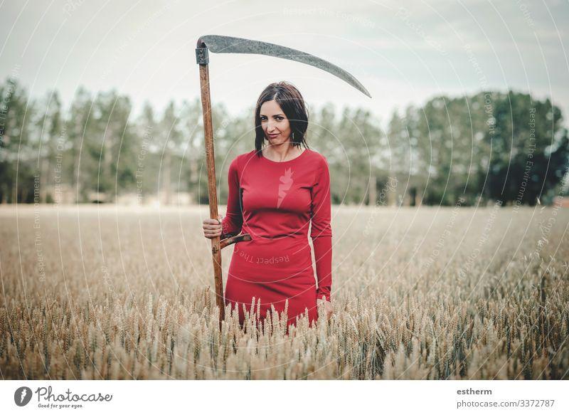 Frau Mensch Natur Jugendliche Junge Frau schön Landschaft Wald Lifestyle Erwachsene feminin Wiese Freiheit Mode Tod elegant