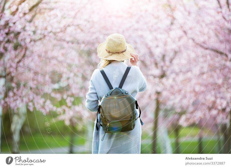 Frau mit Strohhut reist im Park mit Kirschbäumen Abenteuer Rücken Blume Blüte Kirsche entdecken Finnland Garten Helsinki Japan Japanisch Landschaft Örtlichkeit