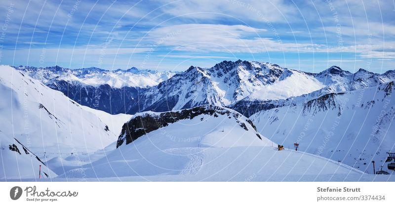 Gipfelmeer im Schnee Panorama (Aussicht) Licht Menschenleer Bewegung Ferne Schneebedeckte Gipfel Berge u. Gebirge Natur Landschaft Himmel Alpen Ski Ischgl