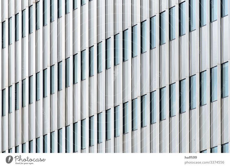 abstrakte Ansicht einer Hochhausfassade mit vertikalen Linien der Festereinfassung Bankgebäude Gebäude Fassade Fenster ästhetisch Unendlichkeit hell hoch kalt