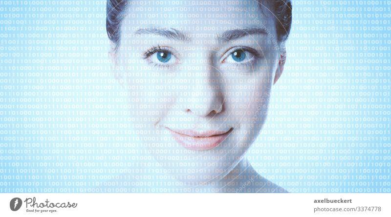 KI künstliche Intelligenz - weibliches Gesicht mit Binärcode Künstliche Intelligenz Avatar gläserner Mensch Fortschritt Zukunft Computer Software