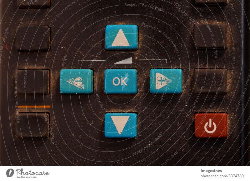 verschmutzte Fernbedienung für TV oder Media Center, Nahaufnahme Fernseher schmutzig Technologie keine Menschen Steuerung Staub Tastatur Ausrüstung