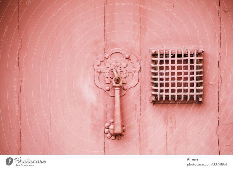 rosa Tür mit Türklopfer und Metallgitter vor quadratischem Guckloch Monochrom alt Gitter Gitterrost metallgitter verbarrikadiert geschlossen unnahbar klopfen