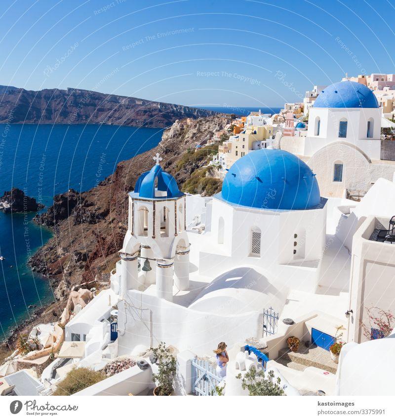 Traditionelles griechisches Dorf Oia, Insel Santorin, Griechenland. Stil schön Ferien & Urlaub & Reisen Tourismus Sommer Meer Berge u. Gebirge Haus Kultur Natur