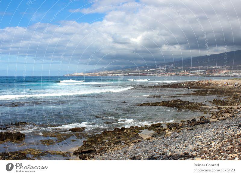 Kiesstrand bei Playa de Las Americas auf der Insel Teneriffa Ferien & Urlaub & Reisen Strand Natur Landschaft Wasser Himmel Wolken Schwimmen & Baden