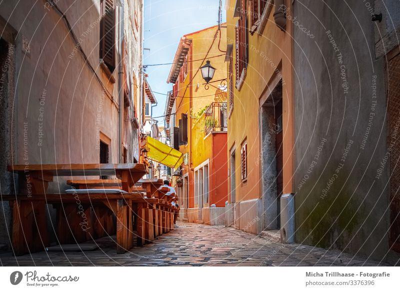 Altstadtgasse in Rovinj, Kroatien Ferien & Urlaub & Reisen Tourismus Sightseeing Städtereise Sommer Sonne Restaurant Europa Stadt Hafenstadt Stadtzentrum Haus