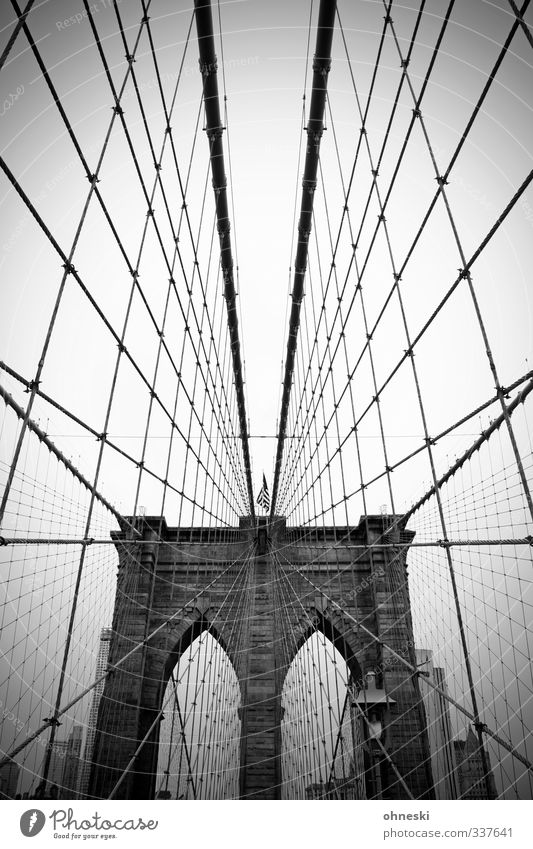 No sleep till Brooklyn New York City USA Stadt Brücke Architektur Sehenswürdigkeit Brooklyn Bridge Netzwerk Schwarzweißfoto Außenaufnahme