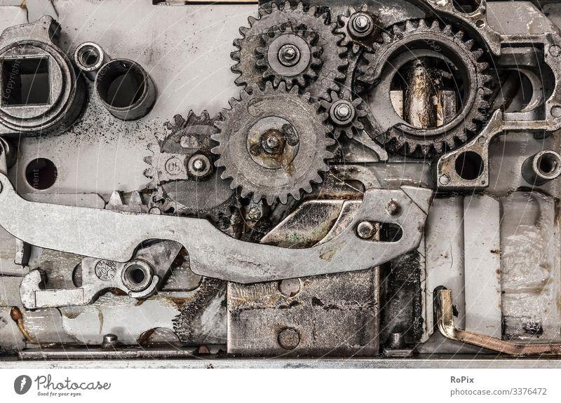 Getriebemechanismus eines automatischen Türschließfachs. Lifestyle Stil Modellbau Bildung Wissenschaften Arbeit & Erwerbstätigkeit Beruf Arbeitsplatz Baustelle