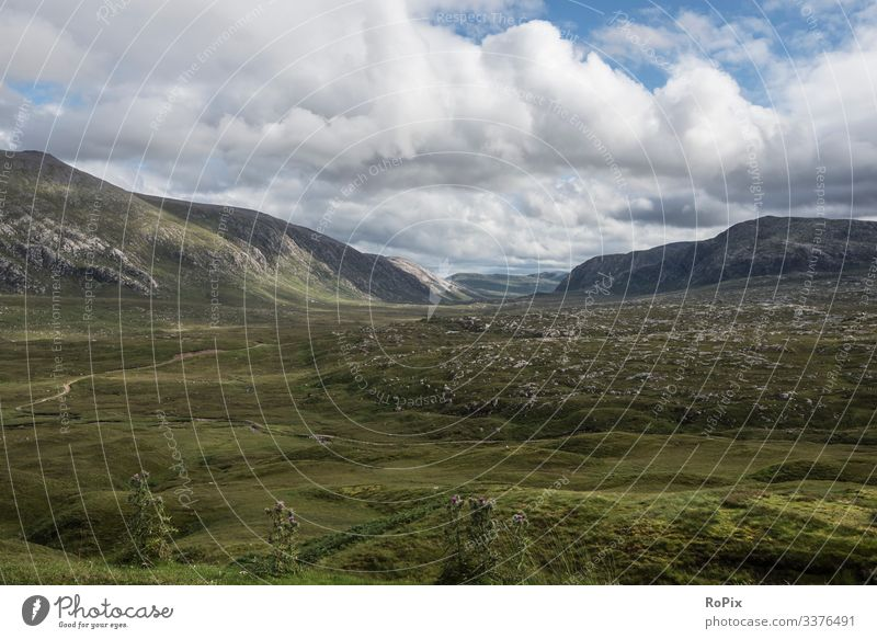 Landschaft in den schottischen highlands. scotland Tal Schottland Schafweide England landscape Brücke Glencoe Natursteinmauer Naturschutzgebiet