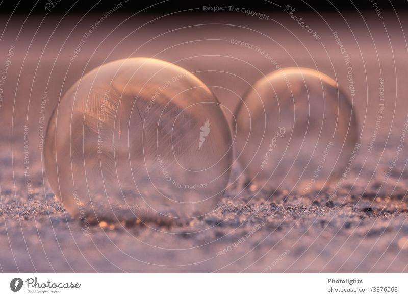 Seifenblasen - gefroren Umwelt Natur Luft Winter Eis Frost Schnee frieren frisch kalt braun gelb gold violett rosa schwarz silber weiß 2 Muster Zeichnung
