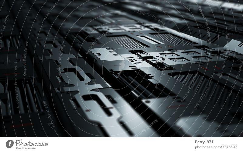 Tech Perspective - 3D Render Computer Hardware Technik & Technologie High-Tech Industrie dunkel eckig glänzend grau schwarz silber komplex Perspektive Präzision