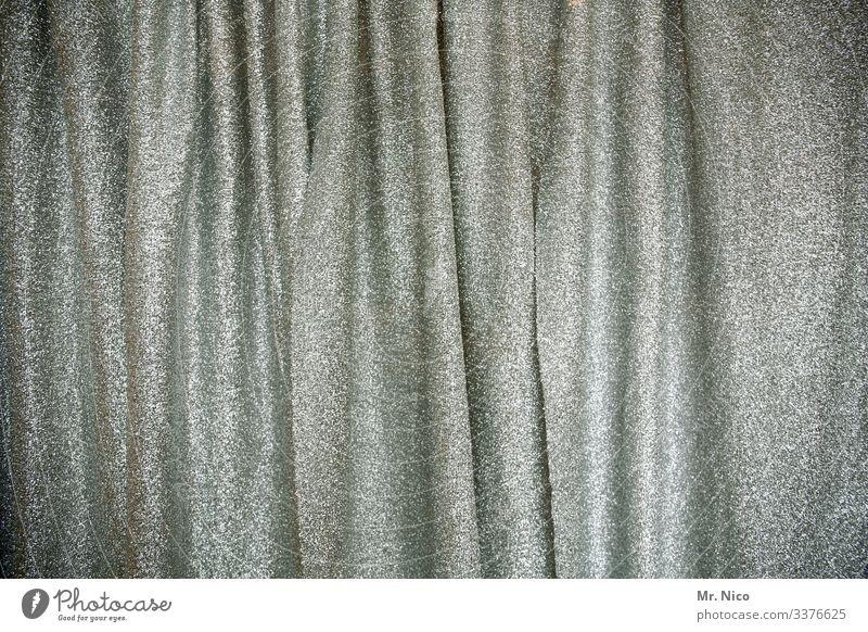 Vorhang auf Vorhang zu Stoff Dekoration & Verzierung Strukturen & Formen Muster silber glitzern Bühnenvorhang Backstage einfarbig Samt Theater Musical