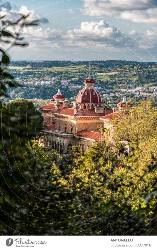 Panorama mit dem Palast Monserrate in der Region Sintra elegant Ferien & Urlaub & Reisen Tourismus Sommer Architektur Umwelt Landschaft Pflanze Himmel Wolken
