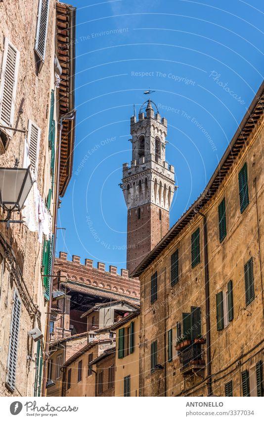 Spitze des Torre del Mangia hinter der Piazza del Campo Ferien & Urlaub & Reisen Tourismus Sommer Hausbau Kunst Architektur Himmel Wolkenloser Himmel